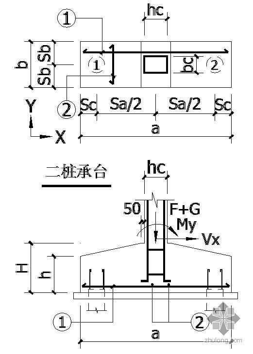 某二桩承台节点构造详图