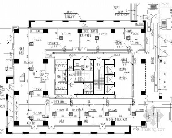 26层综合楼空调通风防排烟系统设计施工图(风冷热泵)