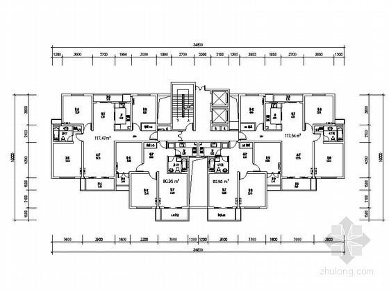 高层住宅一梯四户型图(117、80平方米)