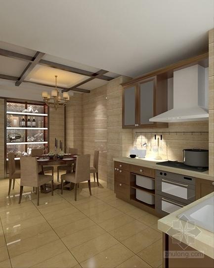 [昆明]新中式复式楼装修设计施工图(含效果)-餐厅效果图
