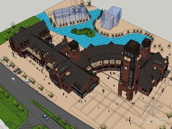 商业广场SketchUp模型下载