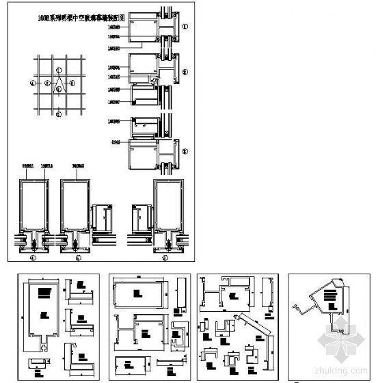 160B系列明框中空玻璃幕墙结构详图