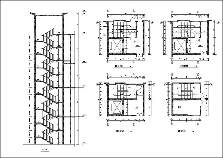 现代高层宾馆酒店建筑设计施工图CAD-现代高层建筑设计楼梯大样图