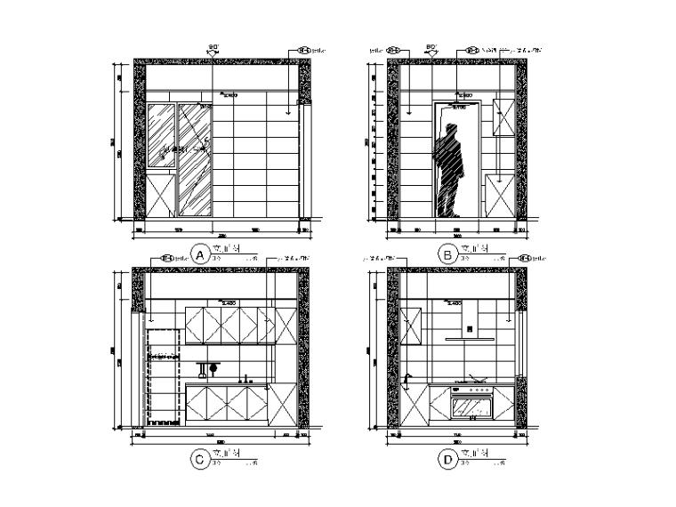 现代风格小户型设计CAD施工图(含效果图)_5