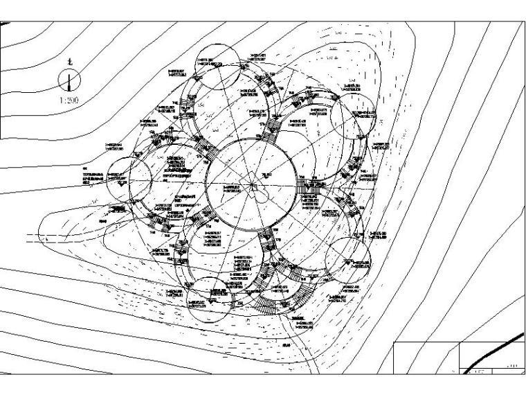 [浙江]山地公园景观设计施工图(2016年最新独家)-观景平台竖向平面图