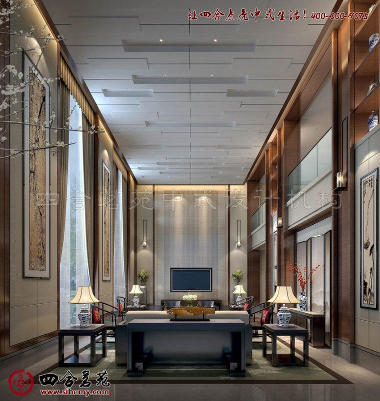 时尚、简约、素雅的别墅新中式设计风格----[四合茗苑]