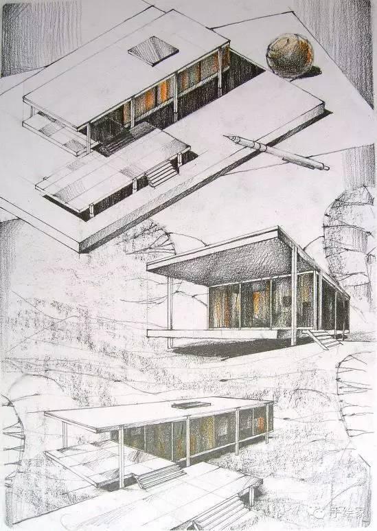 百年经典建筑设计手绘图_3
