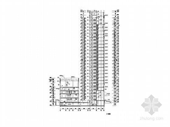 [深圳]25层现代风格办公大厦建筑设计施工图(知名设计院含效果图)-25层现代风格办公大厦建筑设计剖面图