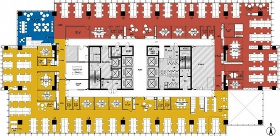 [北京]放松开放式办公空间装饰CAD施工图(含方案、材料表 )