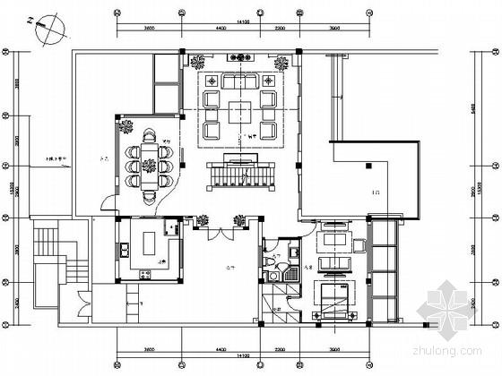 园林布置别墅cad资料下载-[昆山]江南园林新中式双层别墅装修图(含效果)
