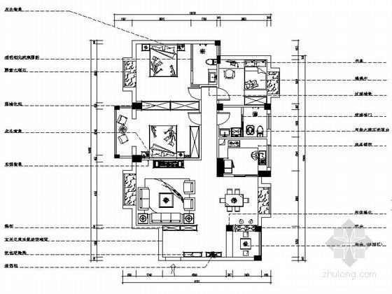 [湖北]时尚现代风格三居室室内装修施工图(含效果)