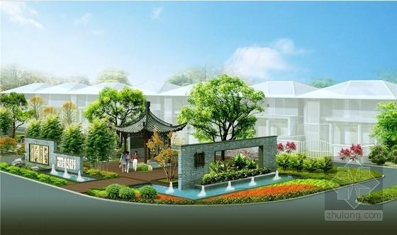 [江苏]现代与传统融合艺术社区景观设计方案-景观效果图