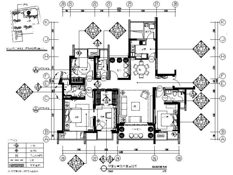 [江苏]现代简约时尚样板间室内设计施工图(含效果图)