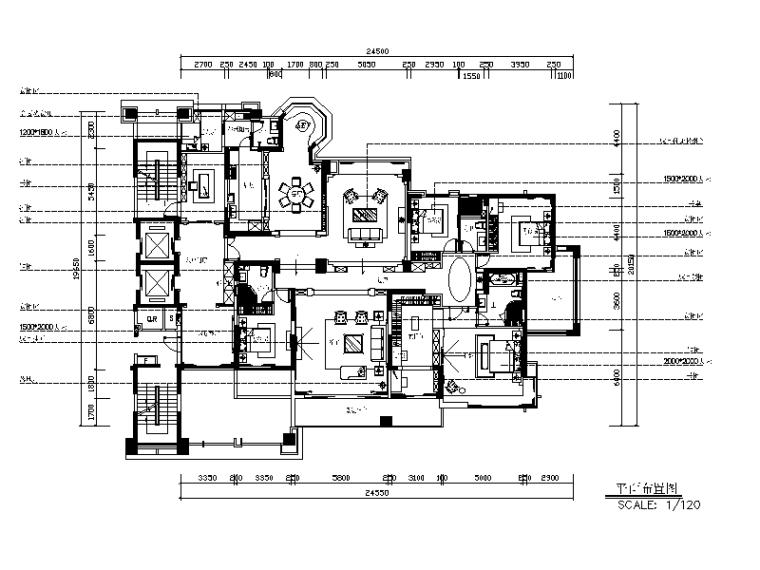 [广东]欧陆风格别墅设计CAD施工图(含效果图)-【广东】欧陆风格别墅设计CAD施工图(含效果图)平面图
