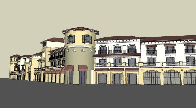 昆明机场住宅沿街商业欧式西班牙建筑模型(su模型)