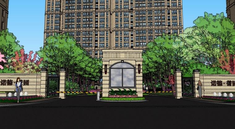 欧式居住区景观设计SU模型