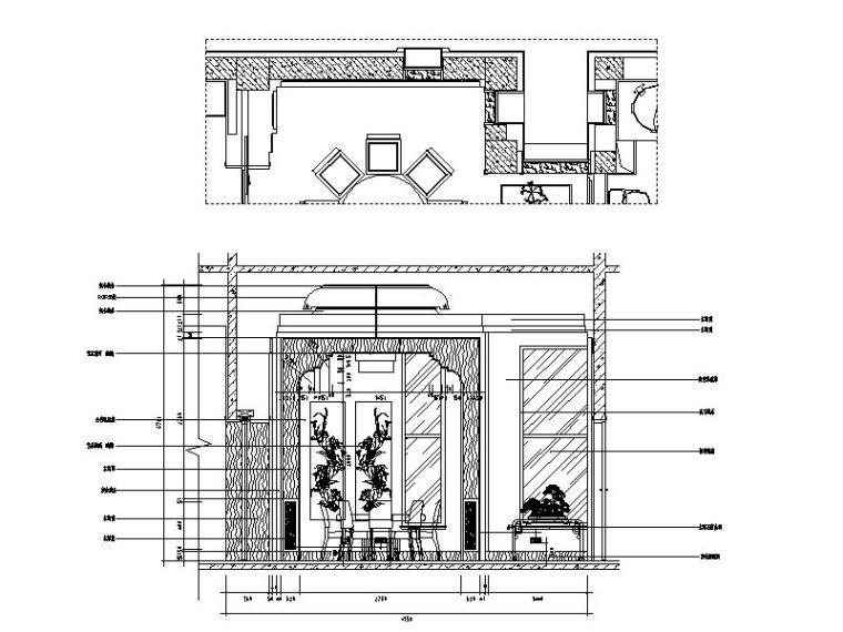[山西]优雅庄重中式风格别墅室内设计施工图(含效果图)_4