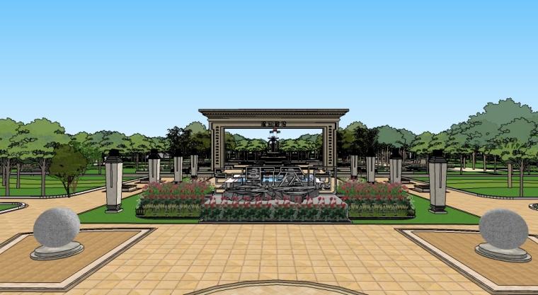 vr主题游戏公园资料下载-廉政主题公园景观设计SU模型