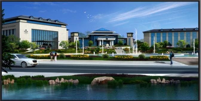 苏州温泉度假酒店内装修设计方案文本-酒店南侧效果图