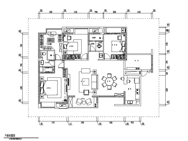 美式古典风三居室住宅设计施工图(附效果图)