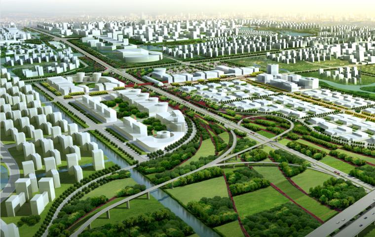 [江苏]南通市经济技术开发区核心区域景观规划(带状,水绿渗透)-A03中心区鸟瞰图