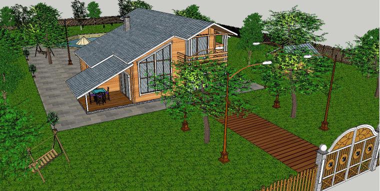 别墅庭院景观设计模型下载