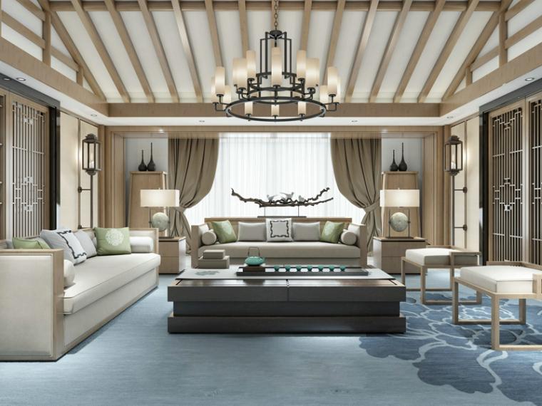 现代新中式客厅3D模型下载
