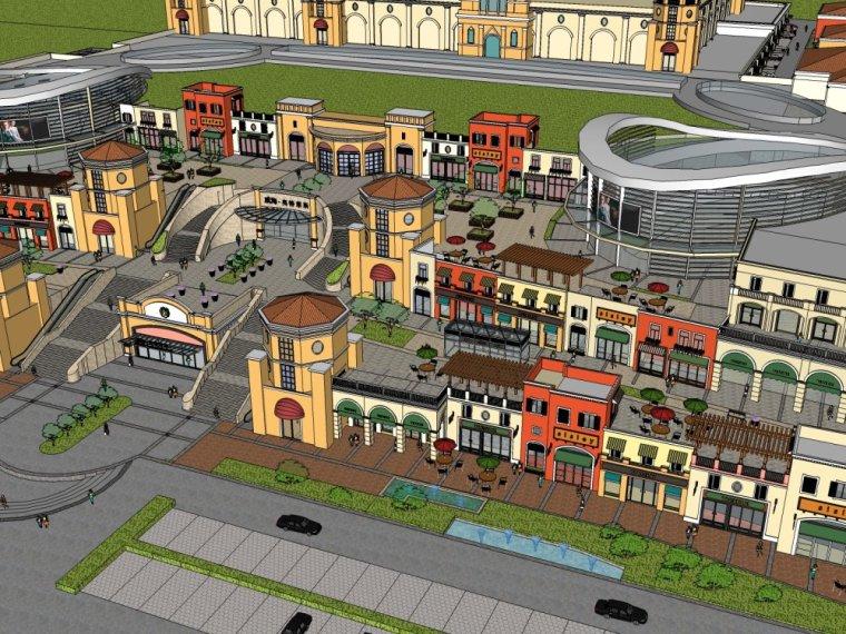 现代商业街两层资料下载-商业街,现代主义风格,2层不错的商业模型