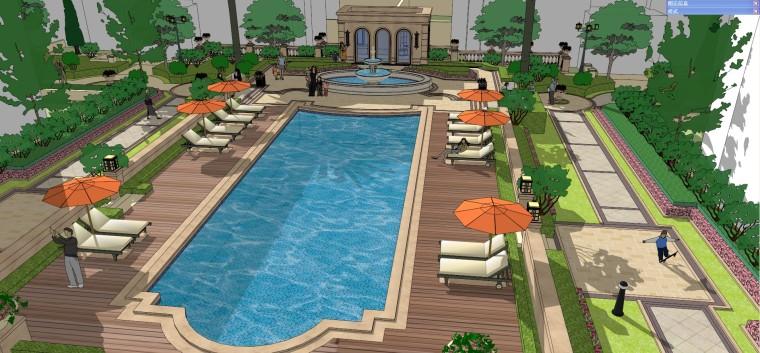 小区泳池景观-欧式风格模型