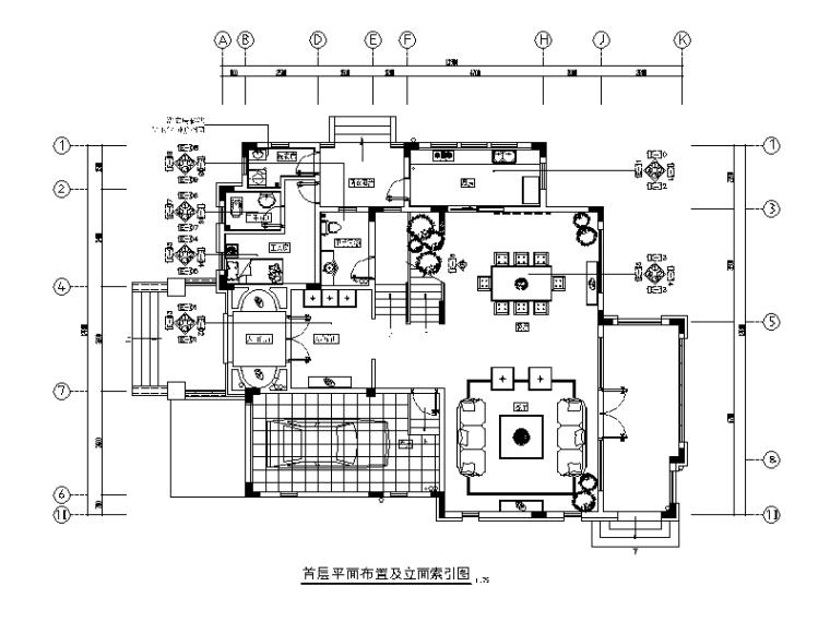 [广东]意式风格别墅设计CAD施工图(含效果图)