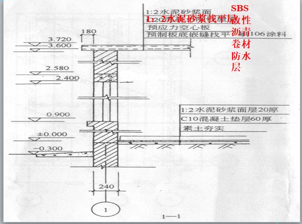 砖混结构平房工程工程量计算实例(详细计算过程)-SBS改性沥青卷材防水层