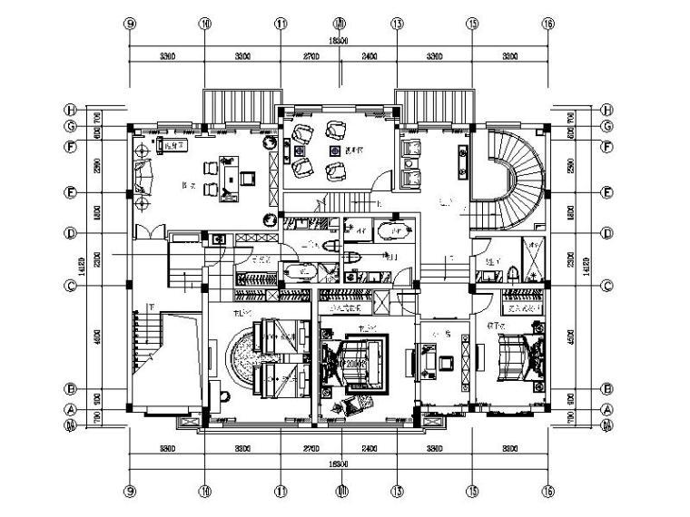 [北京]儒雅新中式2层别墅室内设计施工图(含效果图、实景图)