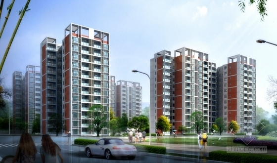 现代风格高层住宅区建筑效果图