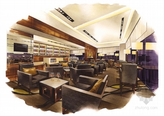 [广东]全球连锁豪华欧式风格商务酒店设计方案酒吧效果图