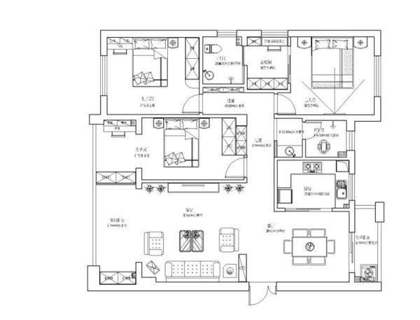 爱琴湾三房两厅简欧风格装修
