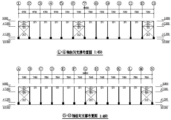 大理石单层单山单跨门式刚架厂房工程(CAD,11张)