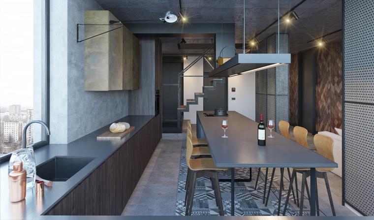 基辅工业风公寓:将厚重与轻盈完美平衡_5