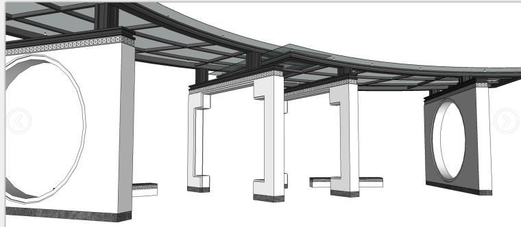 中式风格灰白廊架su模型设计