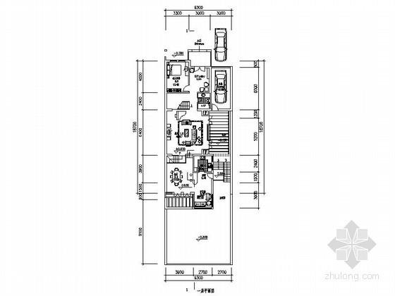 [北京]某二层联排别墅户型平面图(257平方米)