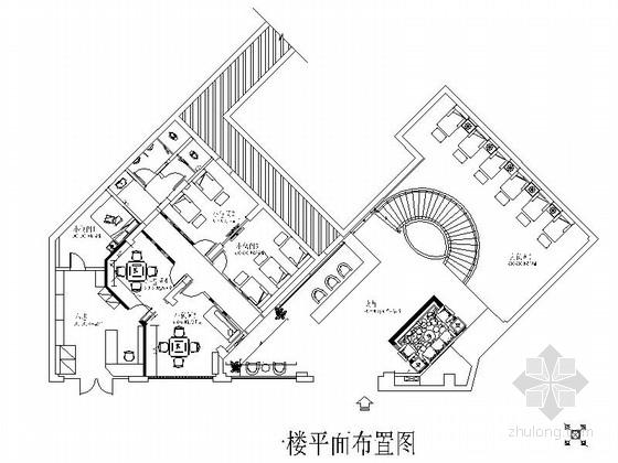 典雅新中式风格休闲足疗店CAD装修施工图(含效果)