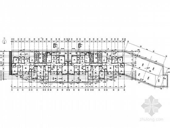 [江苏]高层住宅地下室通风防排烟平面图