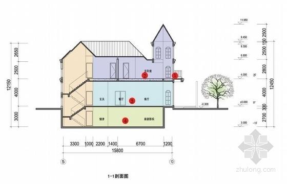 传统风情中高档精品山体住宅建筑剖面图