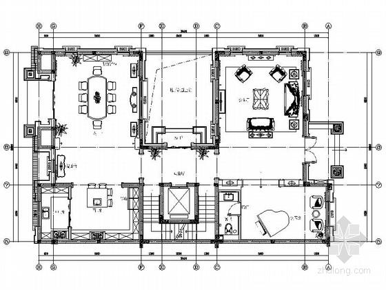 [常州]繁华核心区法式三层别墅样板房装修施工图(含效果及实景)