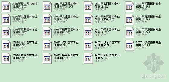 辽宁2007年第7期园林专业各个地区市场价