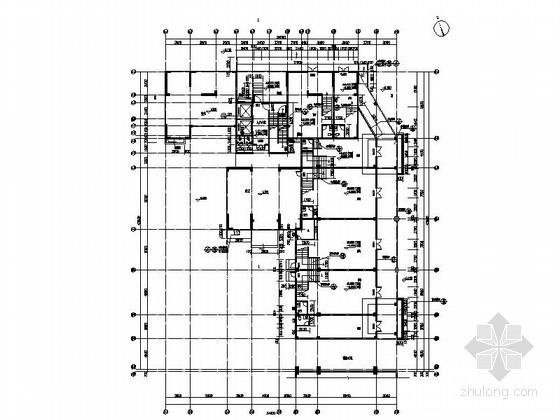 [贵州]高层框剪结构面砖外墙商用住宅建筑施工图(含多套方案)-高层框剪结构面砖外墙商用住宅建筑首层平面图