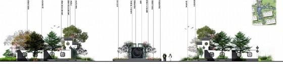 [北京]诗情画意山水住宅商业深化设计方案(图纸精美)-入口正立面图