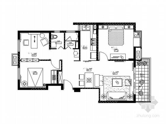 [徐州]花园小区时尚混搭两居室样板房装修图(含效果图)