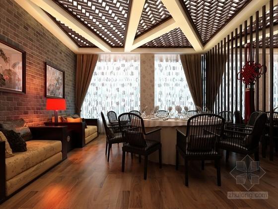 中式风格餐厅包间3d模型下载