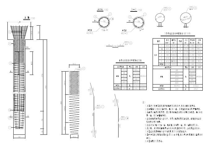 薄壁桥台单桩钢筋图