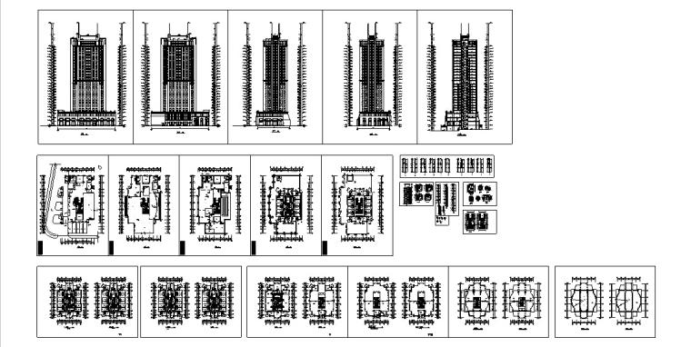 现代高层宾馆酒店建筑设计施工图CAD-现代高层建筑设计施工图